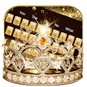 Gold diamond crown Keyboard Theme