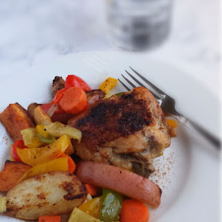 Fried and Baked Chicken with Veggies