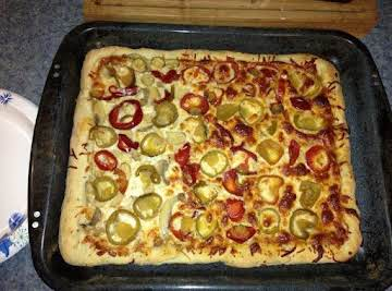 Home made pizza w/ cherry peppers