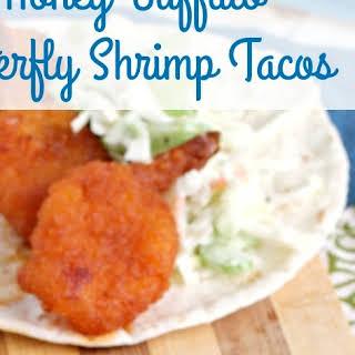 Honey Buffalo Butterfly Shrimp Tacos.