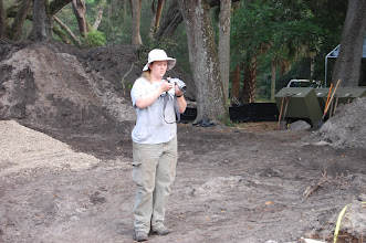 Photo: Thadra Palmer Stanton at Salt Springs. Ms. Stanton was responsible for the field inventory and completed her FSU Anthropology thesis on Salt Springs lithics.