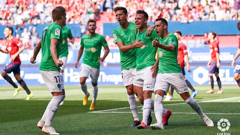 El Almería celebrando el primer gol de Álvaro.