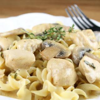 Chicken and Mushroom Skillet with Egg Noodles.