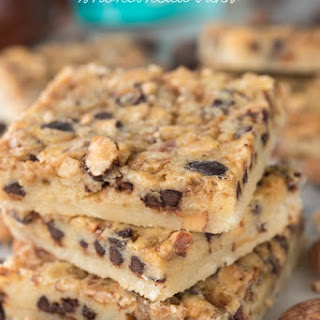 Chocolate Toffee Almond Shortbread Bars.