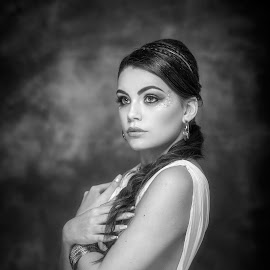 Greek godess by Peter Ali - People Portraits of Women ( greek, beauty, goddess, monochrome, black and white, portrait )