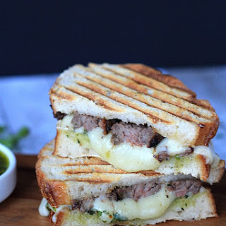 Steak & Fontina Cheese Panini with Chimichurri Sauce.
