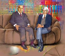 Photo: Andy et Georges dans le salon Pierre Paulin.