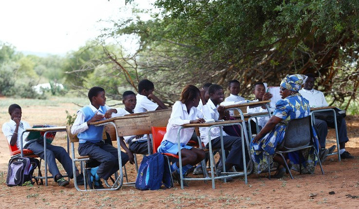 NOT-SO-GREAT OUTDOORS Pupils at Makangwane Secondary in Limpopo are studying under trees because their school building is falling apart.