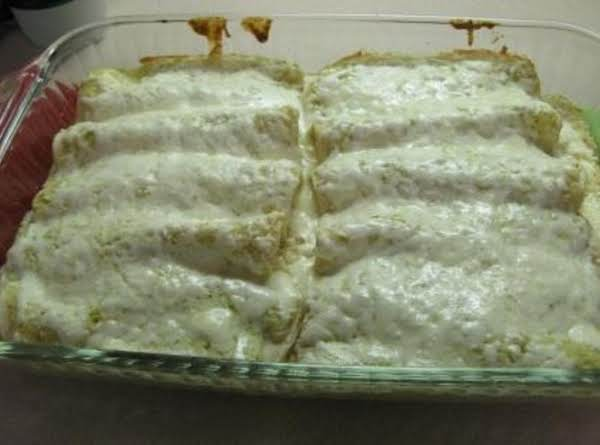 This Isn't My Photo But It Does Look Much Like The Salsa Verde Chicken Manicotti That I Created.