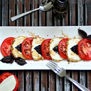 Autumn Caprese Salad with Walnut Crusted Mozzarella and Pomegranate Balsamic