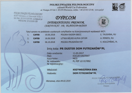 IP Duster Dom Futrzaków-dyplom IP