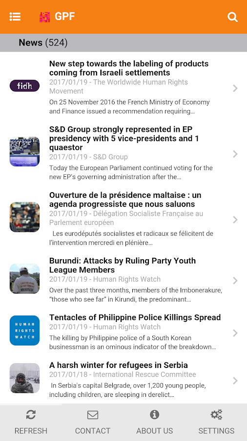 GPF News- screenshot