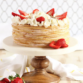 Strawberry Cream Crepe Cake.