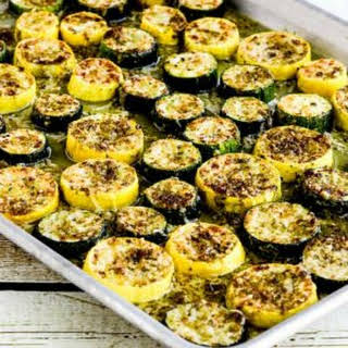 Roasted Summer Squash with Pesto and Parmesan.