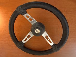 Photo: Steering wheel for HT motorboat now finished. Whipping  with 1mm black Nylon. T-TH with 2mm black woven nylon.