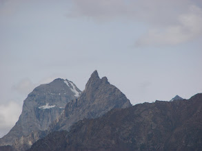 "Photo: ""Rounded Humped Peak"" and ""Spiky Peak"" from Camp 1 (above Khanjar)."