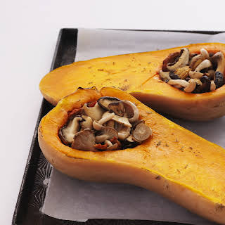 Roasted Butternut Squash with Wild Mushroom Stuffing.