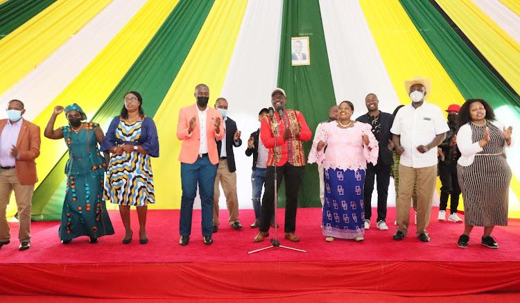 DP William Ruto was joined by MPs James Gakuya, Millicent Omanga, Benjamin Gathiru, GeorgeTheuri, and former Starehe MP Bishop Margaret Wanjiru.