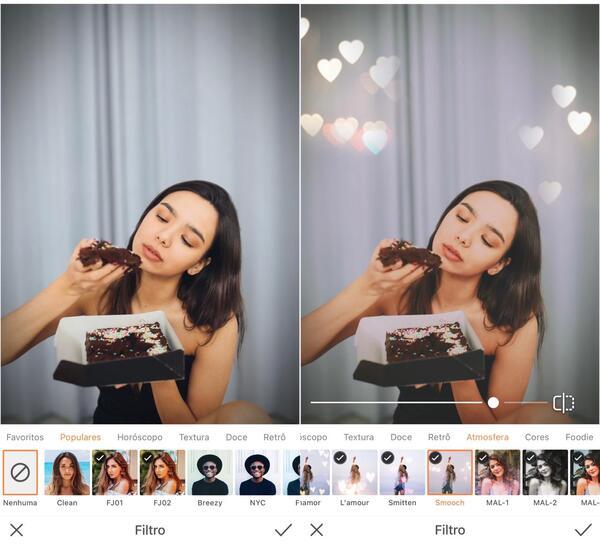 Mulher comendo um bolo de chocolate sendo editada pelo AirBrush com o filtro Love.