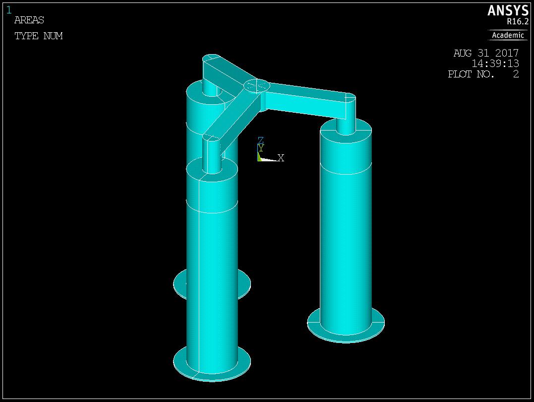 ANSYS – Модель плавающей платформы ветряка, построенная в ANSYS Mechanical APDL.
