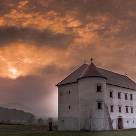 Bela Castle by Matija Krog - Buildings & Architecture Public & Historical ( sky, castle, old, sunset, clouds, fog )
