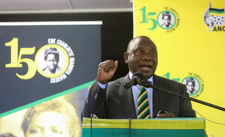 ANC president Cyril Ramaphosa addresses scores of ANC members and supporters in Gqudesi village in Fort Beaufort on Wednesday where the party celebrated the 150th anniversary of the birth of stalwart Charlotte Maxeke
