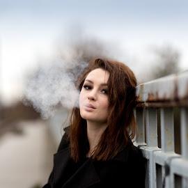 waiting by Irina Ciurla - People Portraits of Women ( model, woman, beautiful, on the bridge, singer,  )