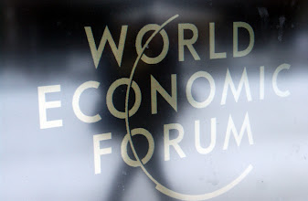 Photo: DAVOS,23JAN03 - Logo of the World Economic Forum captured outside of the Congress Center in Davos, Switzerland, January 23, 2003. 