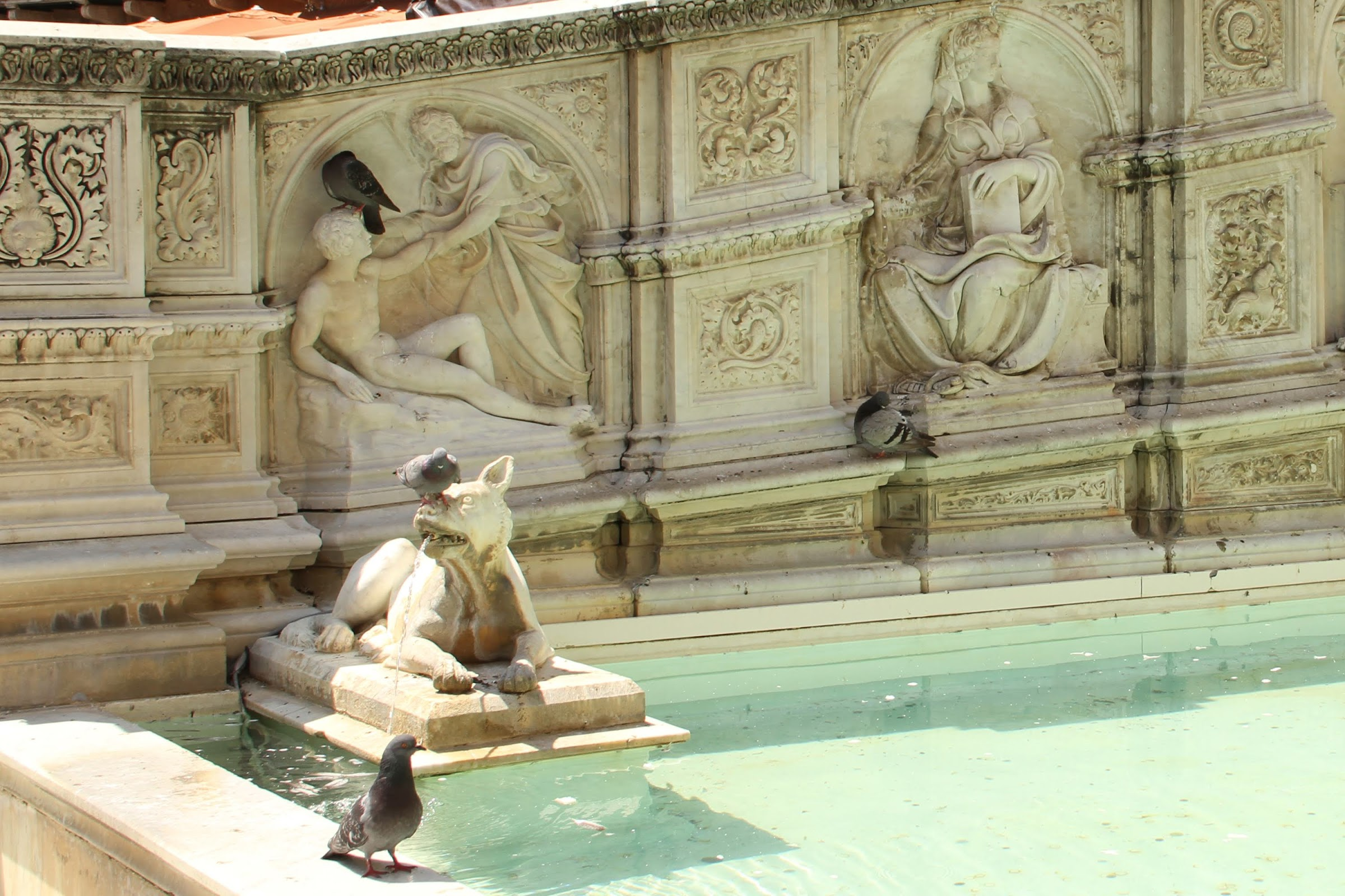 Fonte Gaia, Piazza del Campo, Creazioned'Adamo e Sapienza