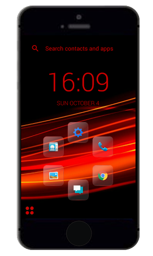 Red Glass Smart Launcher Theme
