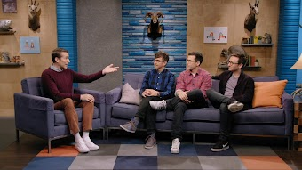 The Lonely Island Wear Dark Pants and Eyeglasses
