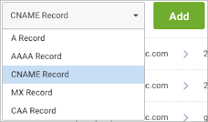 CNAME Record is selected next to the Add button.