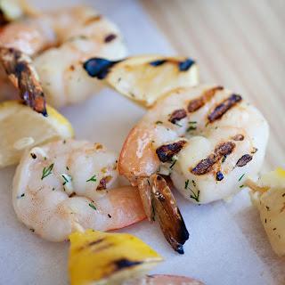 Shrimp and Lemon Skewers with Feta-Dill Sauce