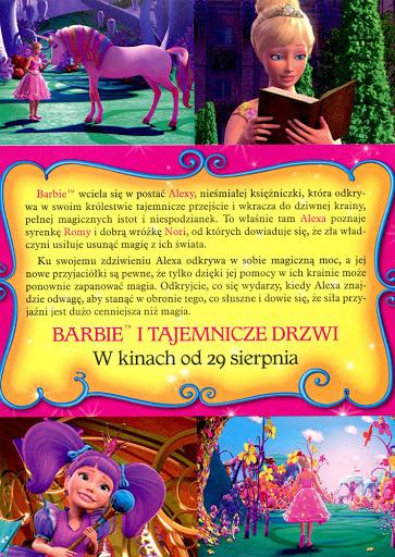 Tył ulotki filmu 'Barbie i Tajemnicze Drzwi'