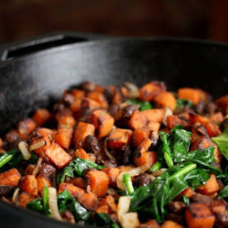 Mexican Sweet Potato Hash with Black Beans and Spinach.