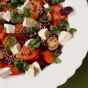 Tomato, Beets, Mozzarella and Toasted Sesame Seeds Salad