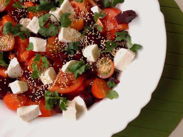 Tomato, Beets, Mozzarella and Toasted Sesame Seeds Salad Recipe