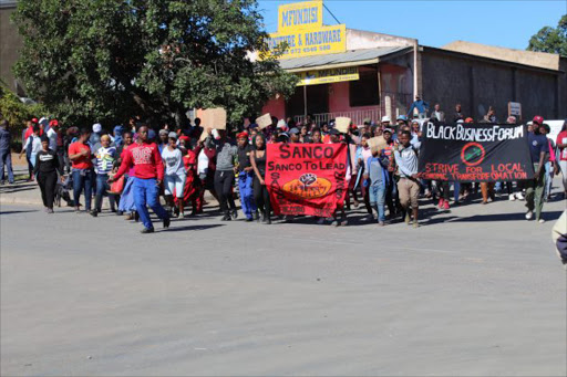 The town of Ngcobo has been brought to a complete standstill as residents led by Sanco, ratepayers,business owners and taxi drivers protested in front of the municipal offices demanding the removal of mayor Lizeka Tyali and her council and for the institution to be placed under administration instead.Picture: SIKHO N​TSHOBANE