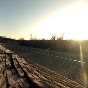 Montauk Roadway by Ashley Rolland - Transportation Roads ( rural highway, highway, rural road, sunset, montauk road, road, montauk lighthouse, rural new york, rural sunset, montauk sunset,  )