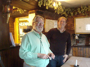 Photo: Jim with the map curator of Hereford Cathedral at the Pandy Inn.