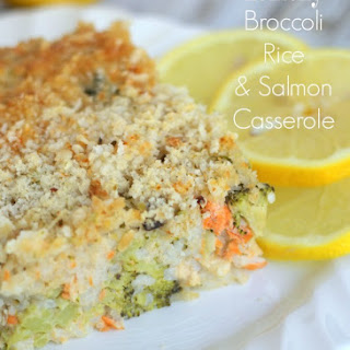 Lemony Broccoli Rice Casserole w/Salmon (one bowl - one dish!)
