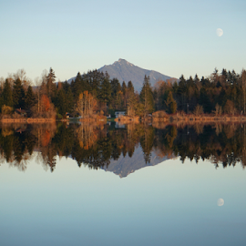 Pilchuck and moon  by Todd Reynolds - Landscapes Mountains & Hills