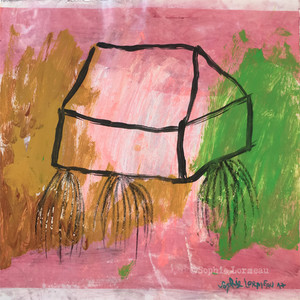 maison-déracinée-rose-racine-home-root-uprooted-pink-black-vert-green-noir-sophielormeau-lormeau-artiste-peinture-french-artist-art-tableau-toile-colorful-naif-naiv-contemporain-contemporary-