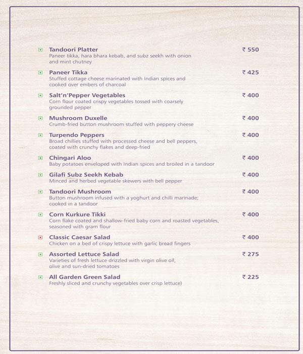 Menu Of Melange The Golkonda Hotel Masab Tank Hyderabad