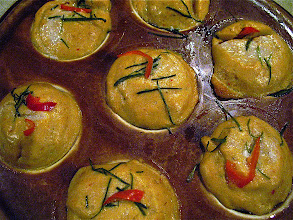 Photo: curried fish mousse steamed in kanom krok pan (haw moek kanom krok)