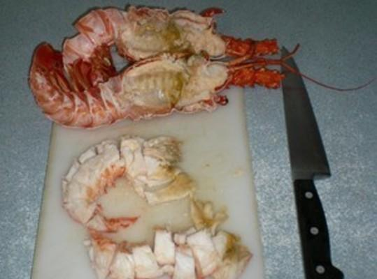 Remove meat from lobster shells. Coarsely chop and set aside until later. Place ...