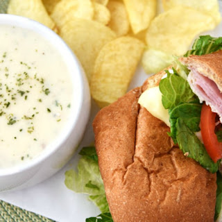 Toasted Ham and Turkey Sub with Creamy Potato Soup
