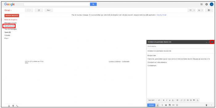 Enregistrer le mail comme brouillons