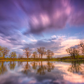 An Iowa Moment by Ken Smith - Landscapes Travel ( lake manawa, reflection, sunset, landscape )