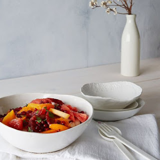 Citrusy Fruit Salad in Ginger Lime Syrup.